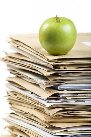 File Stack and green apple close up shot on white background Stock Photo - 6904251