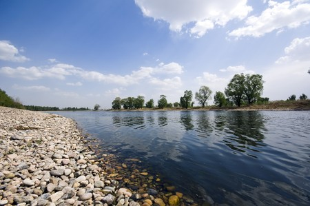 Beautiful Riverside View in Spring Stock Photo