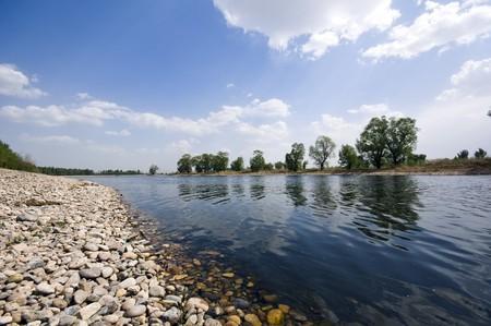 riverside: Beautiful Riverside View in Spring Stock Photo