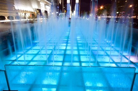 Fountain in downtown Beijing at night Stock Photo