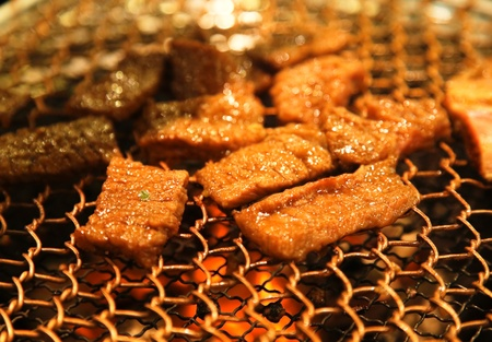 meat on grill , barbecue  Stock Photo