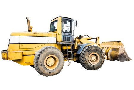 sand quarry: One Loader excavator construction machinery equipment isolated