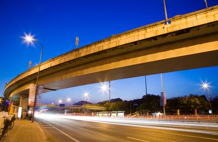 tollway: express way at night time Stock Photo