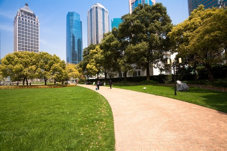 city park with modern building background in shanghai Stock Photo - 17401604