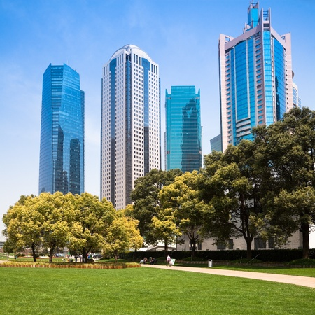 city park with modern building background in shanghai Stock Photo - 17375444