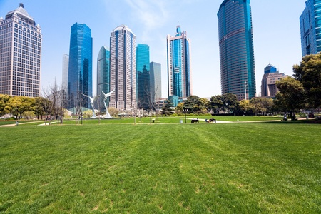 city park with modern building background in shanghai Stock Photo - 17377660