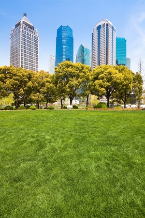 city park with modern building background in shanghai Stock Photo - 17396368