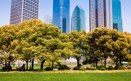 city park with modern building background in shanghai Stock Photo - 17377612