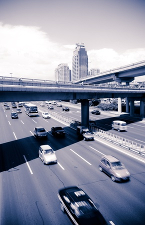 paved: traffic through downtown Stock Photo