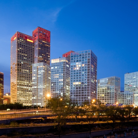 Skyscrapers - office buildings in downtown Beijing at sunset time