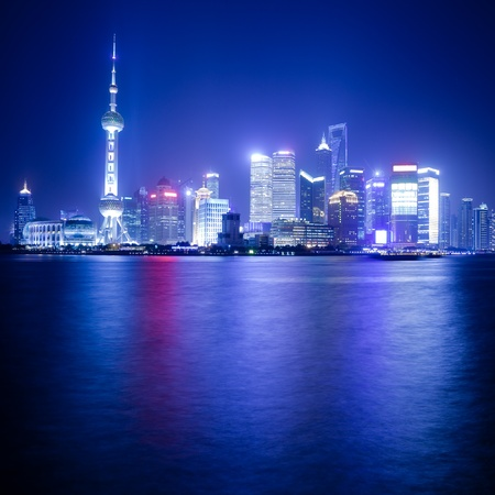 Shanghai Skyline de nuit photo