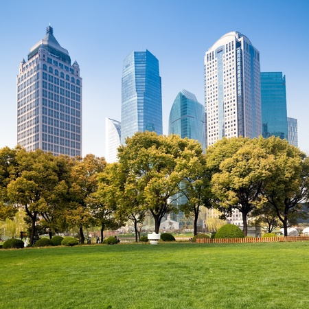 city park with modern building background in shanghai Stock Photo - 17362333