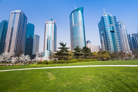 commercial activity: city park with modern building background in shanghai