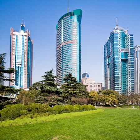 city park with modern building background in shanghai Stock Photo - 17373591