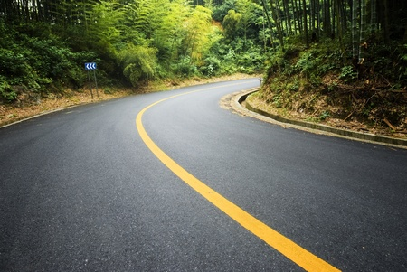 exotic car: Bamboo and curved road in china Stock Photo