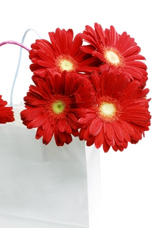 Shopping bag with a bouquet daisy flowers Stock Photo - 17414101