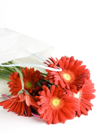 Shopping bag with a bouquet daisy flowers Stock Photo - 17414176