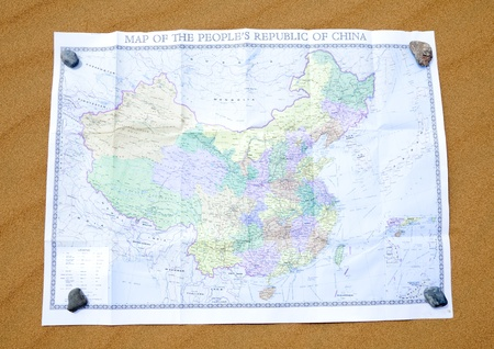 Chinese map: Mapa chino en fondo del desierto