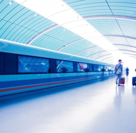 blur subway: Maglev Train Station in Shanghai