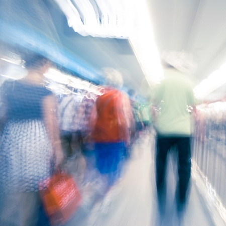 Passenger in the subway station in Beijing,Motion blur photo