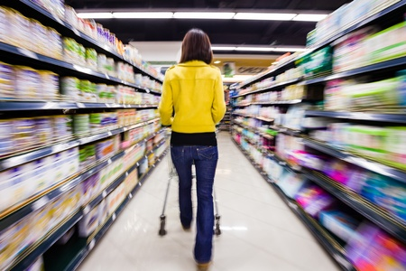 aisle: shopping at the supermarket,motion blur