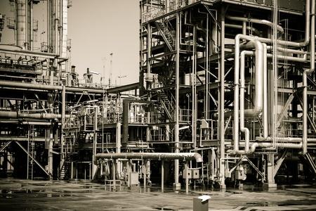 globalwarming: Chemical plant pipeline closeup Stock Photo
