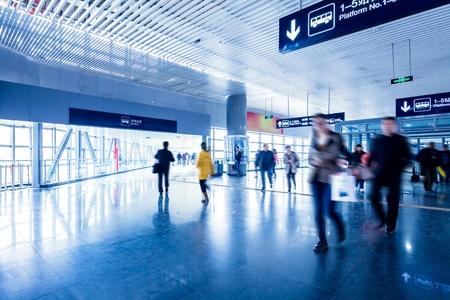 Passenger in the Beijing bus station.Motion blur