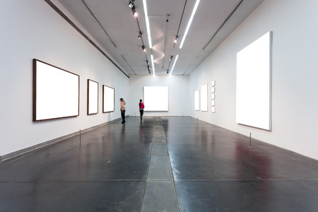 free border: empty frames in museum