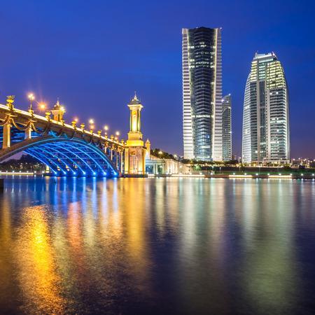 Scenic Bridge at night in Putrajaya, Malaysia  Stock Photo