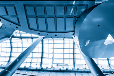 glass ceiling: Blue glass ceiling in office center