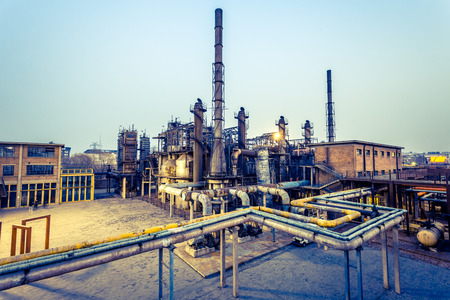 plant oil: Chemical plant at twilight