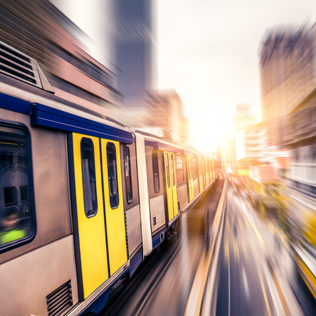 Sky train through the city center in Kuala Lumpur,motion blur photo