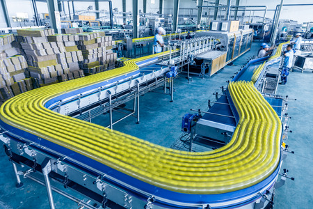 factory line: drinks production plant in China Stock Photo