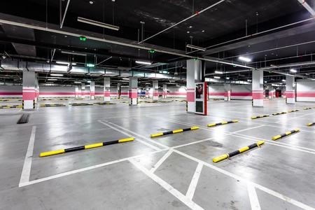 parking sign: empty underground parking Editorial