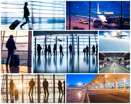 business travel: Collage of photos with airport in Beijing
