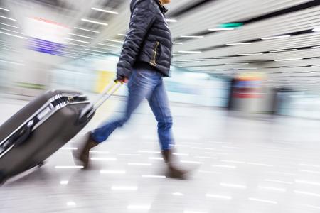 Passenger in the Beijing airport,motion blur photo