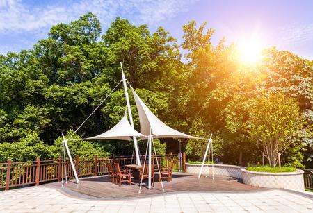 Park pavilion with sunlight photo