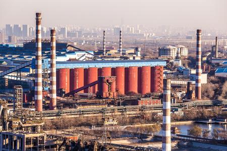 catalytic: Chimney of heavy industry factory in Beijing Editorial
