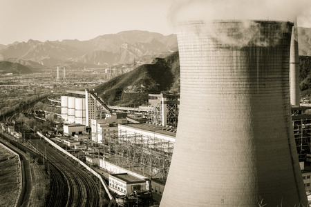 cooling tower: Cooling tower of heavy industry factory in Beijing Editorial
