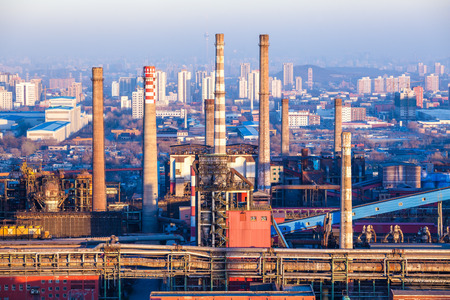 heavy industry: Chimney of heavy industry factory in Beijing Editorial
