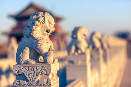the humanities landscape: Stone lion sculptures in china Stock Photo