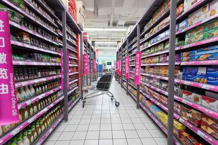 carrefour market: HANGZHOU,CHINA - FEB 14: Carrefour supermarket interior view on February  14th 2014 in Hangzhou. Carrefour is a France chain enterprises worldwide.