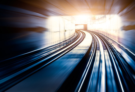 fast train: City Metro Rail,motion blur