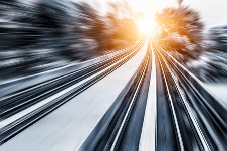 light zoom: City Metro Rail,motion blur