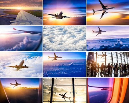 vliegtuig themacollage Stockfoto