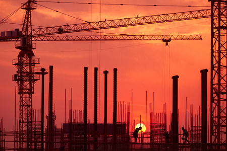 job site: silhouette of construction site Stock Photo
