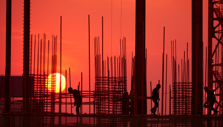 silhouette of construction site Imagens