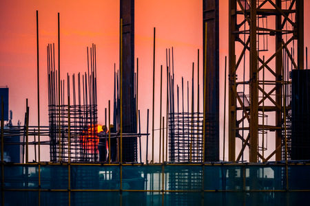 construction equipment: silhouette of construction site Stock Photo