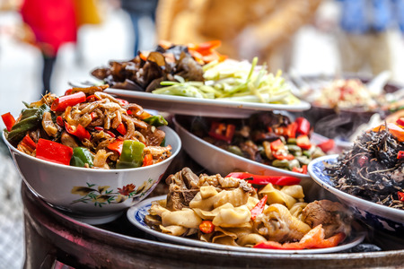 banquet table: Chinese food Stock Photo