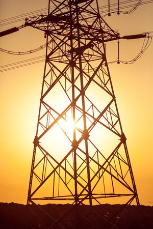GLOD: high voltage post.High-voltage tower sky background.